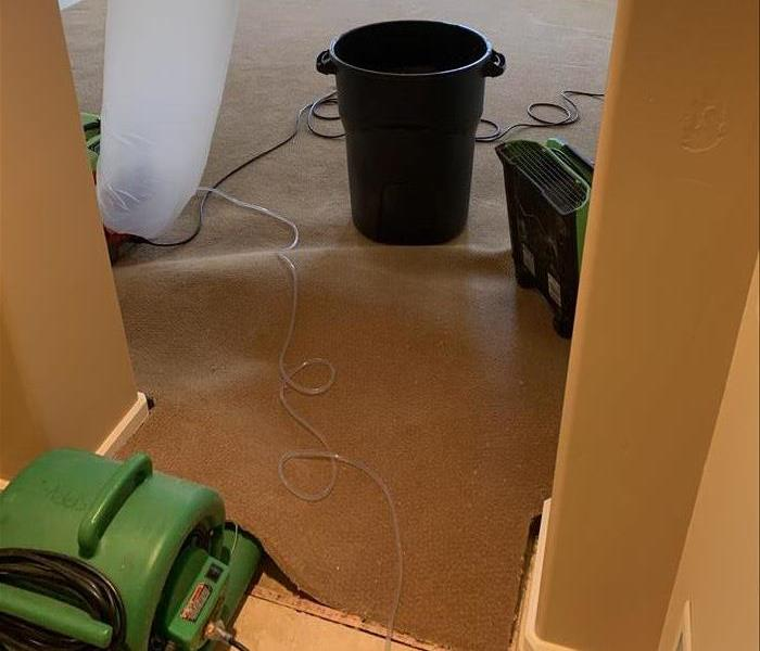 SERVPRO fans drying water on the floor/ceiling of a luxury high rise in Phoenix